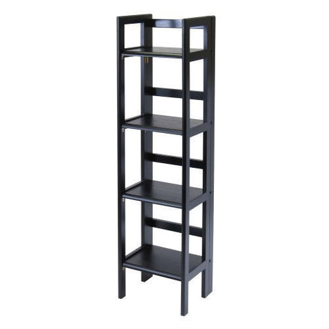 Black 4-Tier Shelf Folding Shelving Unit Bookcase Storage Shelves Tower-Living Room > Bookcases-Loluxe