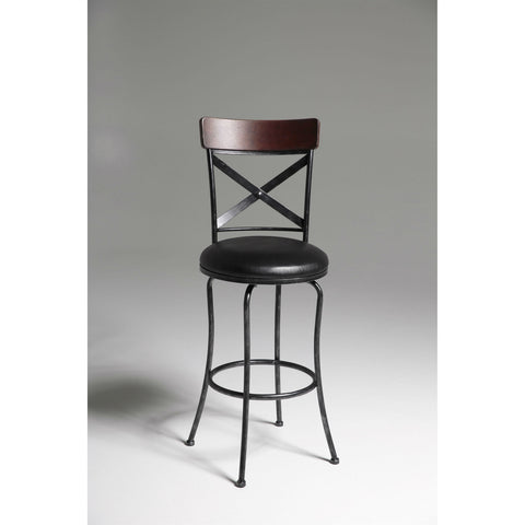 Black and Cherry 30-inch Metal and Wood Bar Stool with Swivel Seat-Dining > Barstools-Loluxe