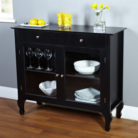 Black Dining Room Buffet Sideboard Server Cabinet with Glass Doors-Dining > Sideboards & Buffets-Loluxe