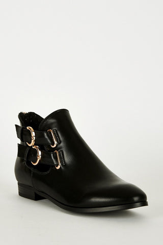 Black Double Buckle Zip Heel Ankle Boots-Footwear > Boots-Loluxe