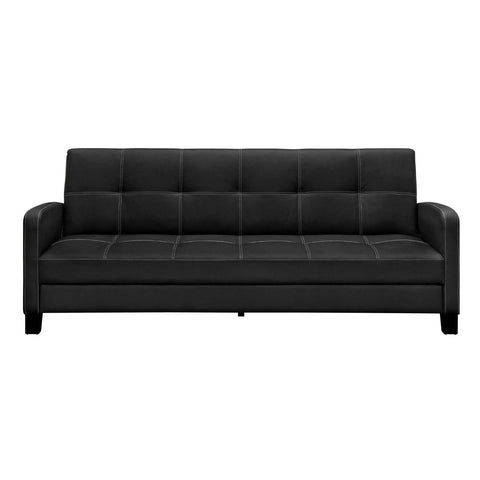 Black Faux Leather Sofa Bed Sleeper - Great for Apartments-Living Room > Sofas-Loluxe