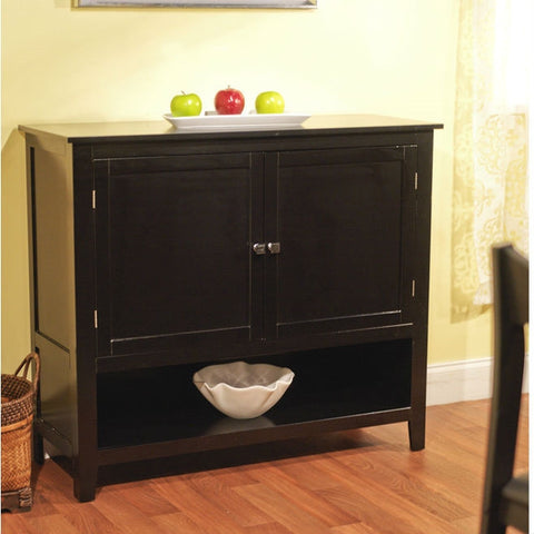 Black Finish Buffet Sideboard Kitchen Dining Storage Cabinet-Dining > Sideboards & Buffets-Loluxe