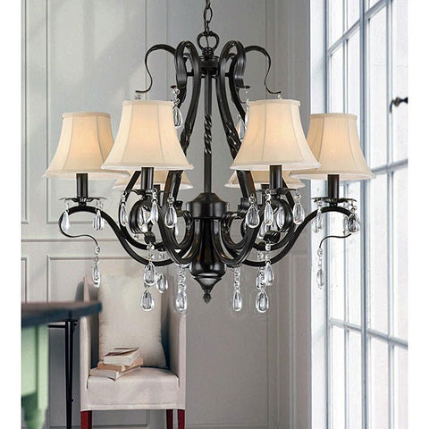Black Iron 6-light Crystal Chandelier-Lighting > Chandeliers-Loluxe
