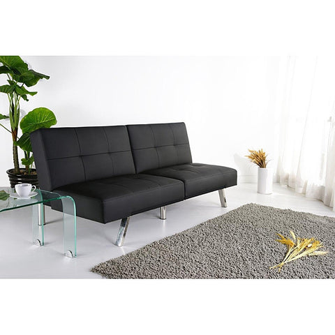 Black Leatherette Foldable Click-Clack Futon Sofa Bed-Living Room > Futons-Loluxe