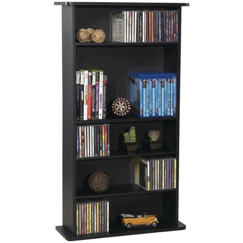 Black Media Storage Cabinet Bookcase with Adjustable Shelves-Living Room > Bookcases-Loluxe