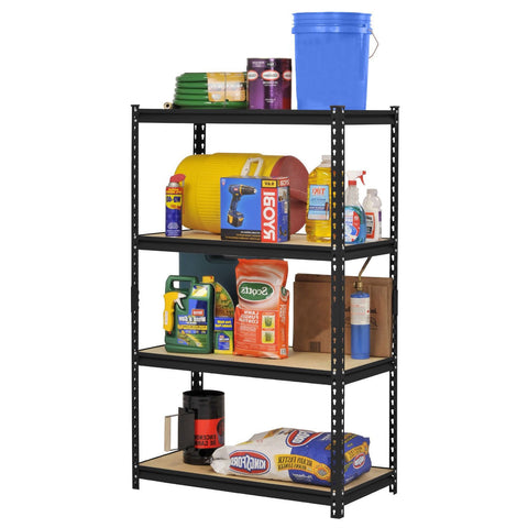 Black Metal Industrial Shelving Unit with 4 Adjustable Shelves 60-inch Height-Accents > Shelving Units-Loluxe