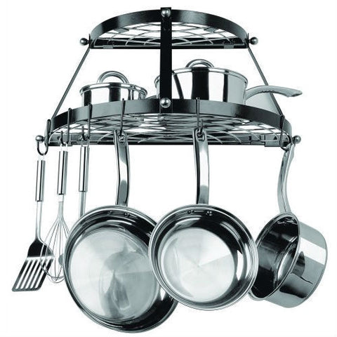 Black Metal Wall Mount 2-Shelf Kitchen Pot Rack - Holds up to 30 lbs-Kitchen > Pot Racks-Loluxe