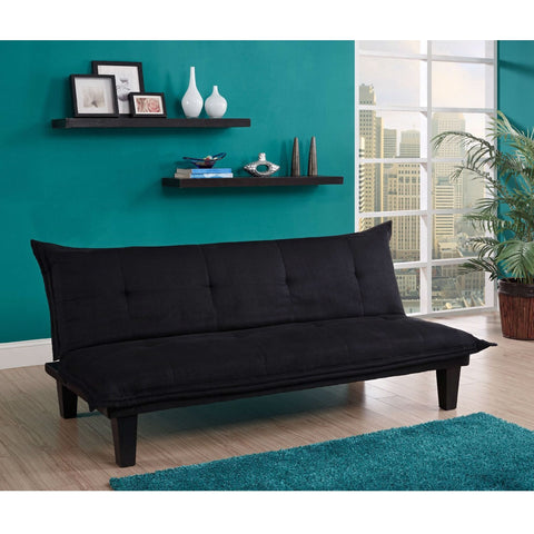Black Microfiber Click-Clack Sleeper Sofa Bed Futon Lounger-Living Room > Sofas-Loluxe