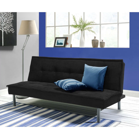 Black Microfiber Upholstered Futon Sofa Bed with Metal Legs-Living Room > Futons-Loluxe