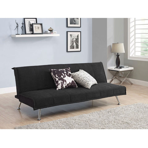 Black Microfiber Upholstered Futon Style Sofa Bed Lounger Couch-Living Room > Sofas-Loluxe