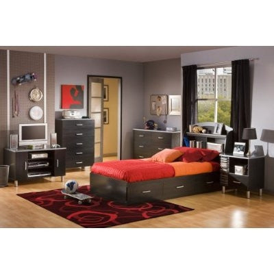 Black Onyx Twin-Size Platform Bed with 3 Spacious Drawers