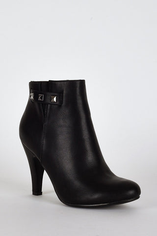 Black Side Studs Detail Ankle High Heel Boots-Footwear > High Heels-Loluxe