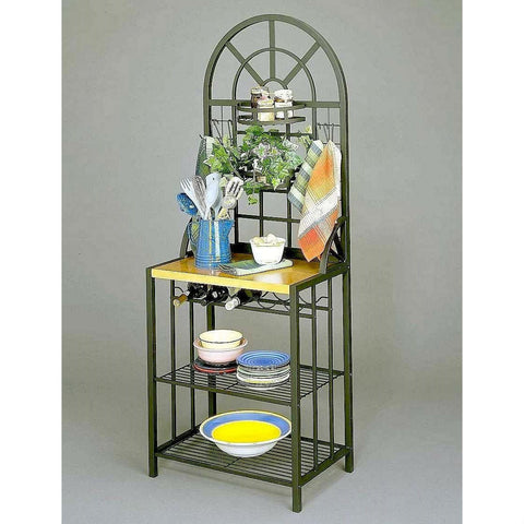 Black Steel Bakers Rack with Utility Hooks and Storage Shelving-Kitchen > Bakers Racks-Loluxe