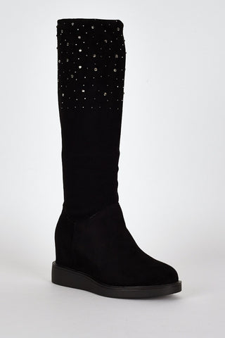 Black Suedette Diamante Detail Hidden Wedge Boots-Footwear > Wedges-Loluxe