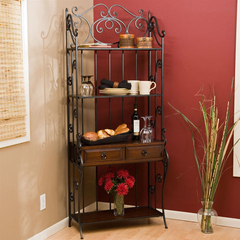 Black Wrought Iron and Walnut Wood Finish Bakers Rack-Kitchen > Bakers Racks-Loluxe