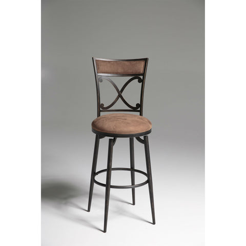 Blackened Bronze Metal 30-inch Bar Stool with Brown Microfiber Swivel Seat-Dining > Barstools-Loluxe
