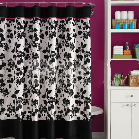 Black/White Floral Waterproof Mildew-Resistant Shower Curtain 4 Sizes-Loluxe