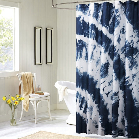 Blue Boho-Style Tie-Dye Waterproof Eco-Friendly Fabric Shower Curtain 2 Sizes-Loluxe