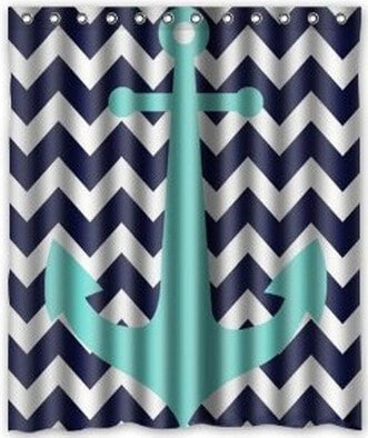"Blue Chevron Anchor Waterproof Fabric 60 x 72"" Shower Curtain-Loluxe"