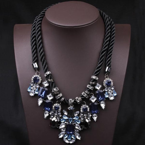 Blue Crystal Pendant Chunky Statement Necklace Hemp Rope-Loluxe