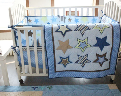 Blue Designer Star Pattern 100% Cotton 4-PC Nursery Bedding Set-Loluxe