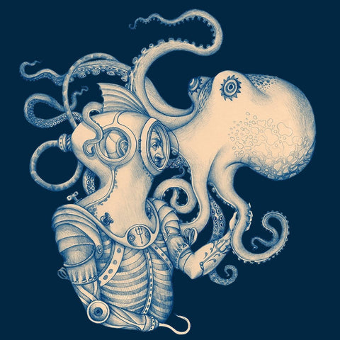 "Blue Ocean Scuba Diver Octopus 70 x 72"" Waterproof Fabric Shower Curtain-Bathroom > Shower Curtains-Loluxe"