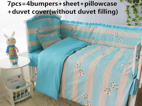 Blue Stripe Bow Print 6 or 7-PC Girl's Baby Nursery Bedding Set 7 Sizes-Loluxe