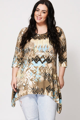 Blurry Aztec Design Hanky Hem Top-Plus Sizes-Loluxe
