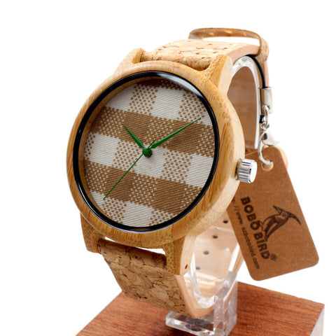 Bobobird New arrival Vintage Round Ladies' Bamboo Wood Quartz Watches With Fabric Dial-Loluxe