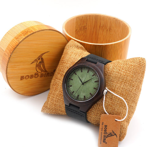 Bobobird Vintage Black Wood Watches With Real Leather Band With Round Bamboo Box-Loluxe