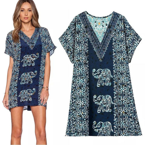 Boho-Style Long Women's Blue Fashion Elephant-Print Tunic S-L-Loluxe