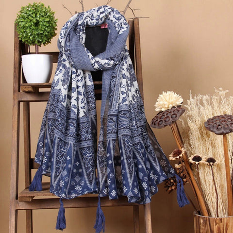 Boho-Style Tassel-Accent Long Fashion Scarf 2 Colors-Loluxe