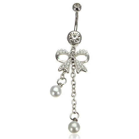 Bowknot Bow Pearl Dangle Belly Ring Navel Ring Piercing Body Jewelry-Loluxe