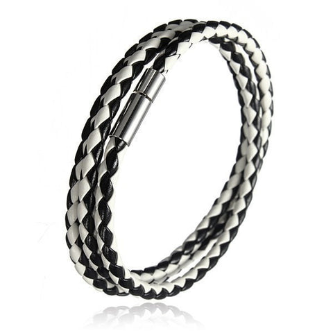 Braided Leather Magnetic Buckle Bracelet-Loluxe