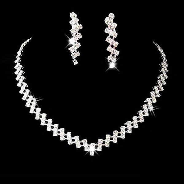 Bridal Square Crystal Thick Chain Necklace Earrings Jewelry Set White-Set-Loluxe