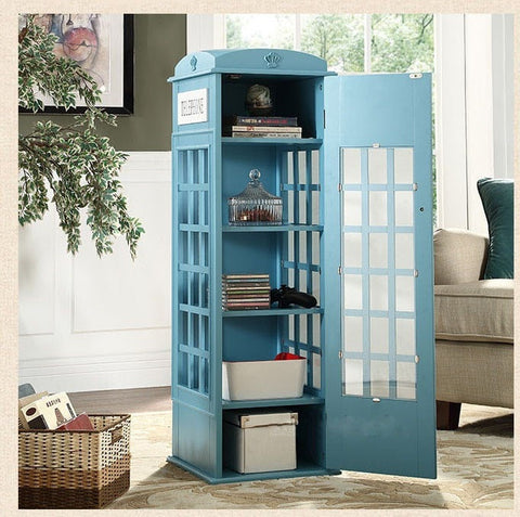 British Vintage-Style Telephone Booth Bookcase 4 Colors-Living Room > Bookcases-Loluxe