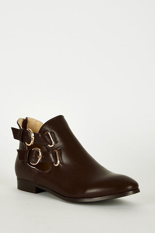 Brown Double Buckle Zip Heel Ankle Boots-Footwear > Boots-Loluxe