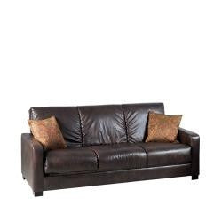 Brown Leather Sleeper Sofa Bed Futon with Extra Thick Cushions-Living Room > Futons-Loluxe