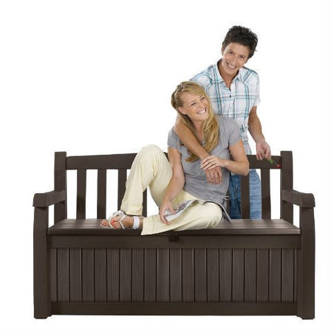 Brown Resin Outdoor Patio Garden Bench with Storage Box-Outdoor > Outdoor Furniture > Garden Benches-Loluxe