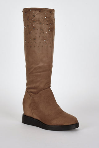Brown Suedette Diamante Detail Hidden Wedge Boots-Footwear > Wedges-Loluxe