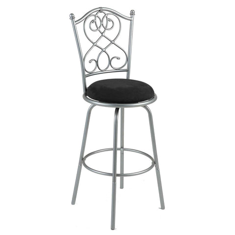Brushed Silver Metal 30-inch Barstool with Black Microfiber Swivel Seat-Dining > Barstools-Loluxe