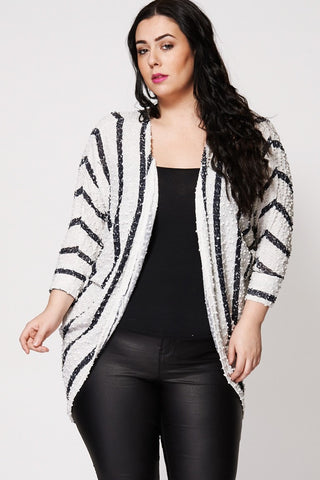 Bubble Textured Fine Knit Open Cardigan-Plus Sizes-Loluxe