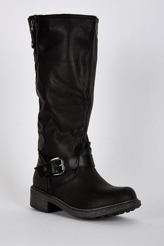 Buckle Detail Rounded Toe Calf Boots-Footwear > Boots-Loluxe