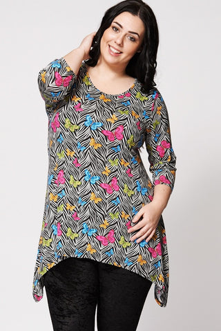 Butterfly Print Hanky Hem Top-Plus Sizes-Loluxe