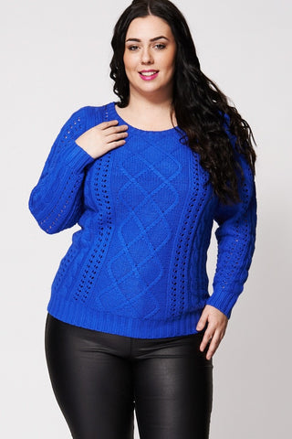 Cable Knit Sweater With Cut Out Design-Plus Sizes-Loluxe