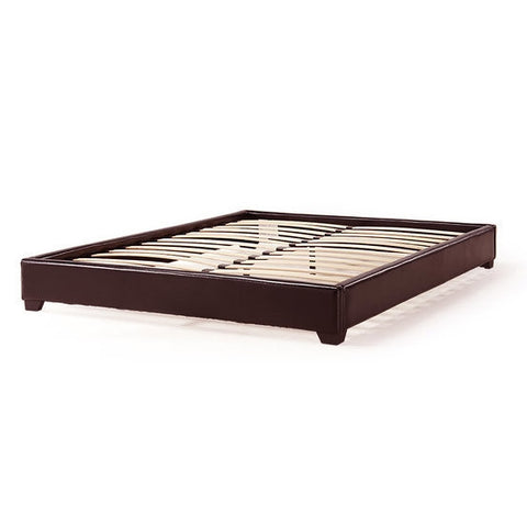 California King size Upholstered Dark Brown Faux Leather Platform Bed Frame-Bedroom > Bed Frames > Platform Beds-Loluxe