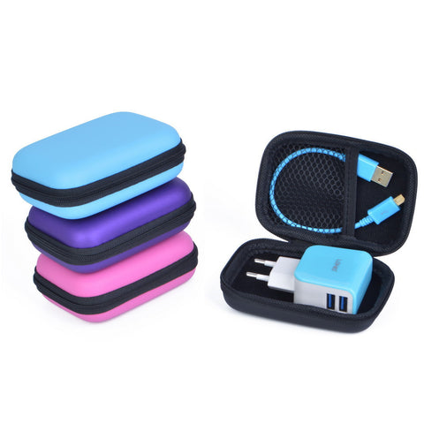 Candy-Colored Hard Shockproof Portable EVA Storage Case for Cellphone Accessories 4 Colors-Loluxe