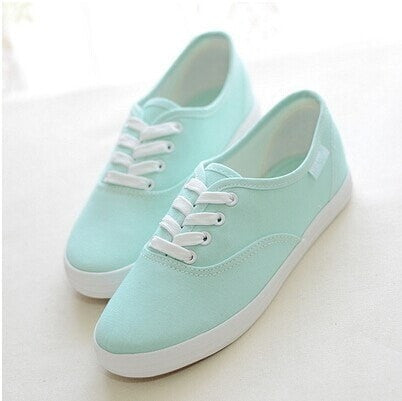 Candy-Colored Lace-Up Vintage Women's Canvas Casual Sneakers 9 Colors-Loluxe