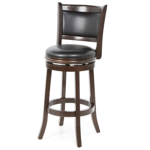 Cappuccino 29-inch Swivel Barstool with Faux Leather Cushion Seat-Dining > Barstools-Loluxe