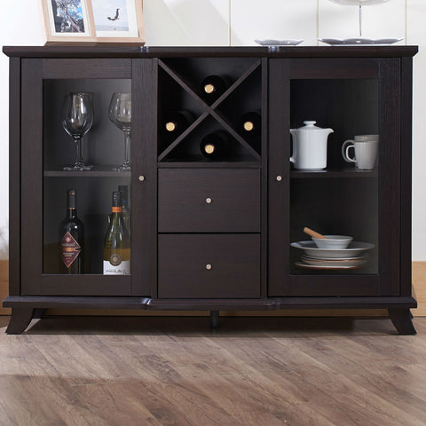 Cappuccino Wood Finish Dining Buffet Sideboard Cabinet with Wine Rack-Dining > Sideboards & Buffets-Loluxe